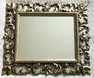 Antique Victorian Cast Iron Gold Rococo Leaves & Scrolls Frame Wall Hang Mirror