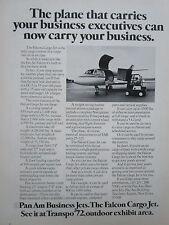 5/1972 PUB PAN AM BUSINESS JETS DASSAULT FALCON CARGO JET TRANSPO ORIGINAL AD