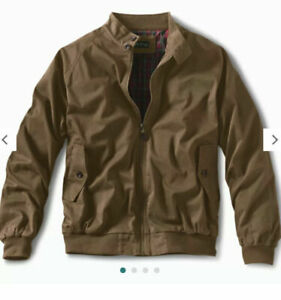 Orvis Mens 2XL Tobacco Brown Waxed Cotton Full Zip Weatherbreaker Jacket $198