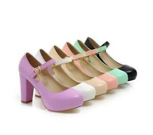Women Block High Heel Ankle Strap Mary Jane Shoe Round Toe Platform Dress Shoes