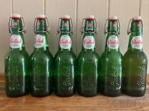 6 x 450ml Empty Flip-Top Grolsch Green Glass Beer Bottles