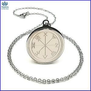 Amuleto talismano sigillo di Salomone soldi in acciaio con collana uomo donna da