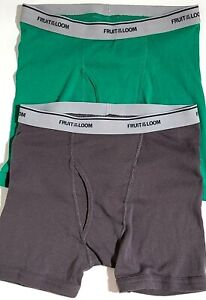 2 Pack Fruit Of The Loom Underwear Brief Boxer Gray & Green Size Small