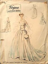 Vintage 50's VOGUE COUTURIER WEDDING DRESS GOWN EVENING sewing pattern
