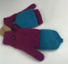 Andes Gifts Fair Trade Mittens Hand Warmers Wool Pink/Magenta And Blue Womens