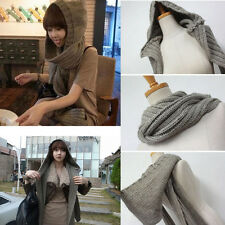 Hot Women Winter Knit Soft Warmer Hooded Scarf Shawl Knitted Hood Wrap Hat Cowl