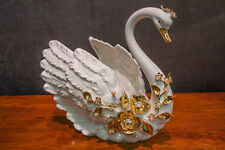 Rare OLIVIA RIEGEL Crystal & 24k Gold Ceramic Swan Cachepot Made in Italy