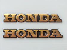 Honda Classic Retro Metal Tank Emblem Badge GOLD + BLACK x 2 ****UK STOCK****