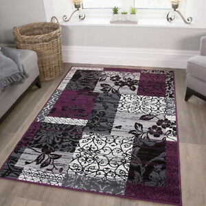 Modern Purple & Grey Patchwork Rug For Living Room Soft Floral Carpet Lounge Mat