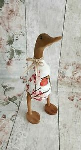 25 cm Hand decorated bamboo root duck/ Robin/Home/Garden/painted duck