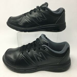 New Balance Womens 8 2E 813 Lace Up Low Walking Shoes Sneakers Black Leather