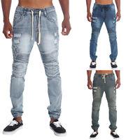 Victorious Men's Distressed Biker Denim Jogger Pants Moto jeans    JG870 - L