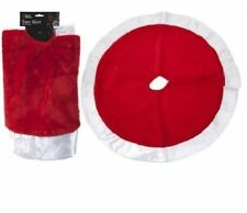 "Large Plush Soft Christmas Xmas 34"" Tree Skirt With Satin Rim Base Cover"