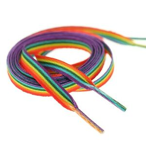 Pride Multi Coloured Rainbow Laces Gay Flat 10mm Shoes Trainers LGBTQ - 120cm Uk