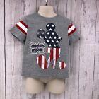 Disney Mickey Mouse Gray T-Shirt Size 3T American Original Patriotic Flag SS