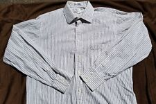 Burberrys of London L/S Button Front White and Green Stripe Shirt Sz 16-34