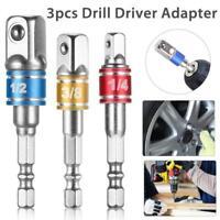 3pcs Socket Bit Adapter Drill Nut Driver Power Extension Bar 1/4 3/8 1/2'' DB
