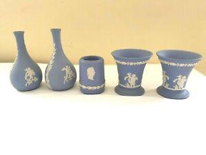 Wedgwood Blue Jasperware Urns Vases x 5 Job Lot