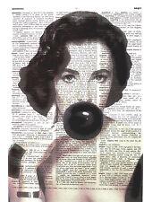 Art N Wordz Liz Taylor Bubble Original Dictionary Sheet Wall/Desk Pop Art Print