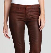 Designer J BRAND Shiny Coated Skinny Tan Brown Leggings Jeans Womens 27-Near New