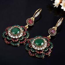 Wedding Ethnic Vintage Party Drop Earrings Crystal Long Clip