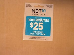 Net10 Wireless Prepaid Phone Card 30 Day 1000 Minutes Talk Data UNSCRATCHED New