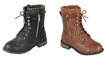 Baby Toddler And Youth Girls Leather P/U Combat Boots Lace Up Fall Winter Shoes