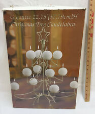 """Christmas Tree Candle Holder Candelabra Gold Color 23"""" Tall Round Ball Candles"""