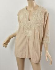 CALYPSO St. Barth Beige Cotton ROPE EMBROIDERED TUNIC Oversized Peasant Top S