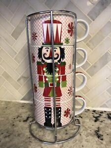 Pier 1 Imports Stacking 8 oz. Christmas Mugs NUTCRACKER 4-Piece Set & Rack