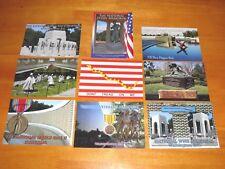 Lot of 9 Postcards Military Memorials World War II Vietnam & Flag etc - Postcard