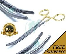 """Gold Handle Spay Pack Rochester Carmalt Forceps 6.25"""" Curved Stainless Steel"""