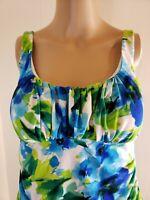 SlimShaper Women's Tankini Top Green Blue Floral Size 8 Adjustable Straps