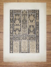 RENAISSANCE Ivoires Graves RACINET LITHOGRAPHIE Art Decoratif Motifs Deco 1870
