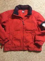 TOMMY HILFIGER Vintage Down Filled Jacket Red Spell Out Big Logo SZ M Medium