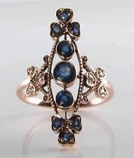 Lungo 9CT 9K Rose Oro Zaffiro & Diamante Vintage Art Deco INS Anello libero Ridimensiona