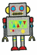 ROBOT SILVER iron on/sew on Embroidered Patch Applique DIY (US Seller)