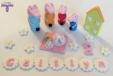 Peppa Pig Mummy Daddy George Edible Fondant Cake Topper Picnic House ANY COLOUR