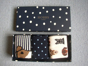 BNIB Hobbs 3 pairs Ladies socks+Gift box Dog Scottish/Fox Terrier Dachsund Spots