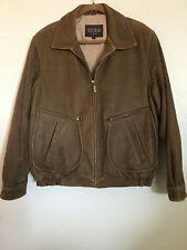 Izod NWOT Men's Brown Distressed Leather Bomber Pilot Aviator Flight Jacket