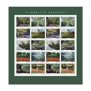 *American Gardens. 2020 Sheet of 20 USPS Forever Postage Stamps.