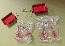 DOLL HOUSE MINIATURES TWO WAGON TRICYCLE MODELS TOYS RED VINTAGE COLLECTIBLE LOT