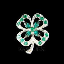 St Patricks Day 4 Leaf CLOVER made with Swarovski Crystal Irish Shamrock Brooch