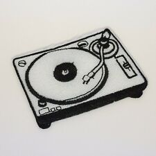 Turntable Patch - Iron On Badge Embroidered Motif - Retro Old School Record #283