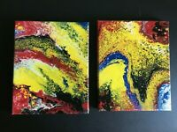 """Original abstract artwork Set of 2 Acrylic pour on canvas painting  8 x 10"""""""