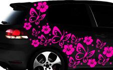 108-teiliges Auto Aufkleber Hibiskus Blumen Schmetterlinge HAWAII WANDTATTOO lxp