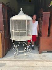 Fine Antique Vintage Tin Steel Iron Victorian Style Bird House Pet Animal Cage
