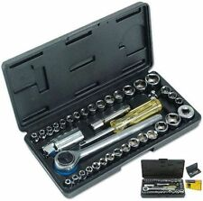 "40PC SOCKET SET WITH CASE 1/4"" 3/8"" DR METRIC AF SOCKETS RATCHET HANDLE TOOLS"