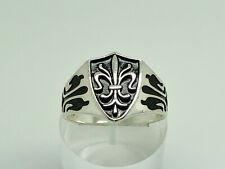 Antique Style Sterling Silver Enamel Fleur de lys Shield Signet Mens Ring Size U