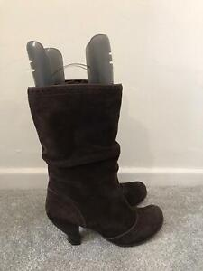 Clarks Boots Size 7 Brown Suede Calf Slouch Boots Heeled Shoes EU 40